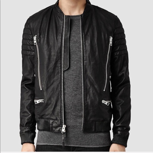 b969a1ef8eb All Saints Jackets & Coats | Allsaints Sanderson Leather Moto Bomber ...